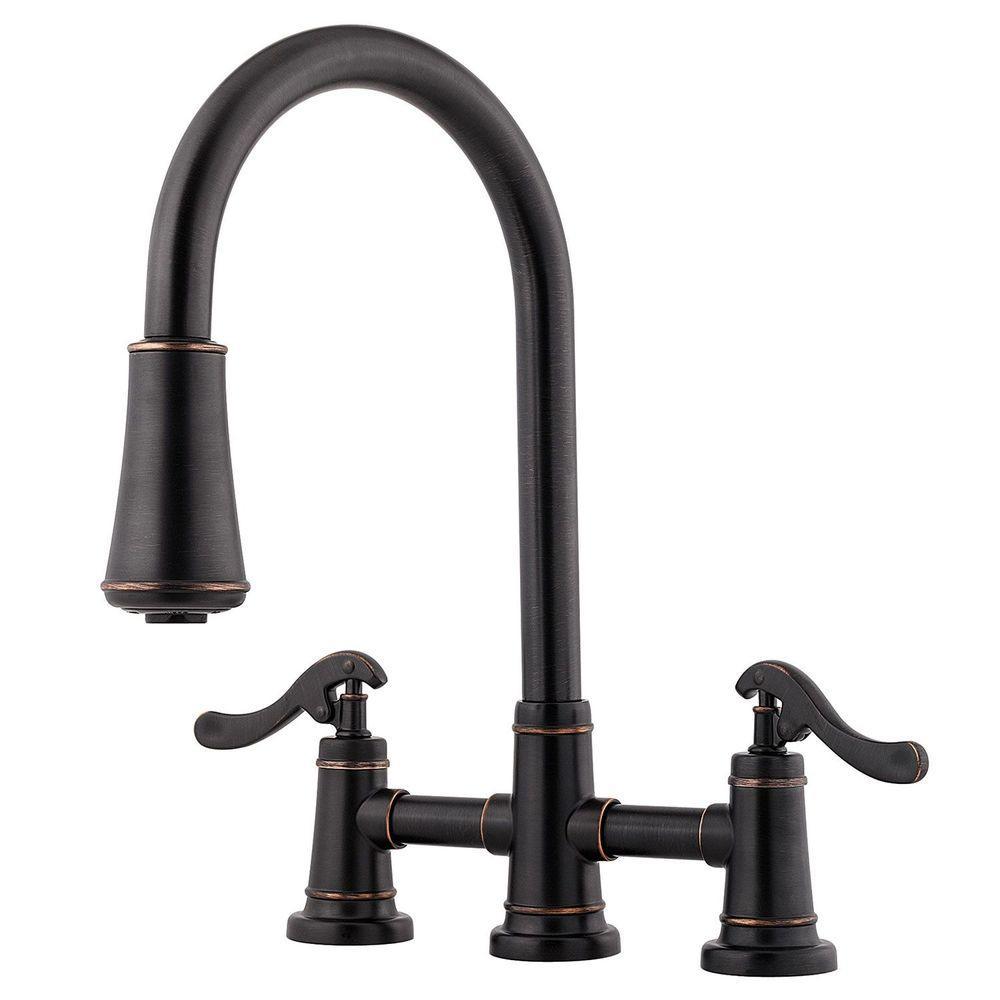 3 hole kitchen faucet chicken rugs pfister ashfield 2 handle pull down sprayer in tuscan bronze