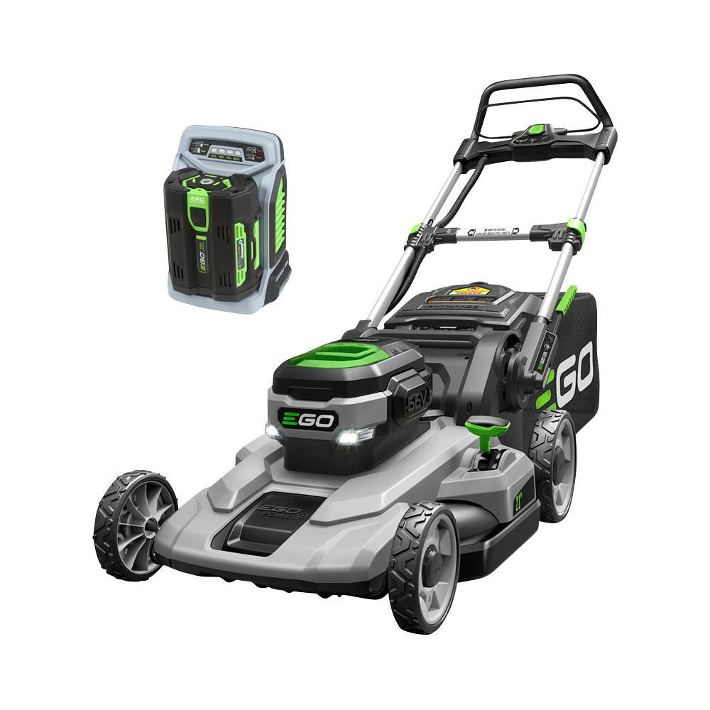 hight resolution of 56 volt lithium ion cordless battery walk behind push mower 5 0 ah battery charger included