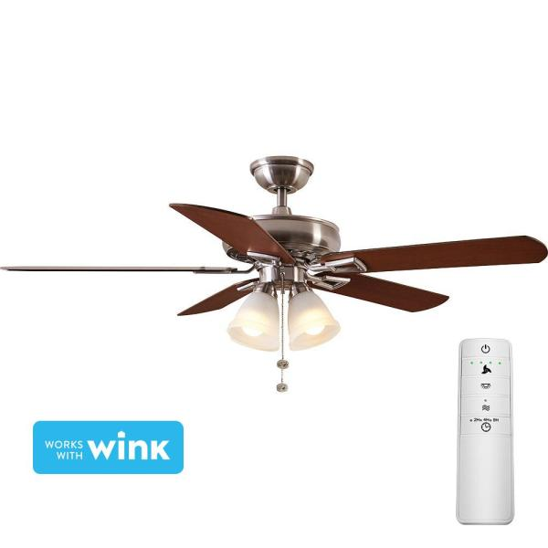Hampton Bay Lyndhurst 52 In. Led Brushed Nickel Smart Ceiling Fan With Light Kit And Wink Remote