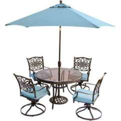 Chair With Umbrella Attached Midcentury Rocking Blue Ties Patio Dining Sets Traditions 5 Piece Outdoor Set Round Glass Table Swivel Chairs