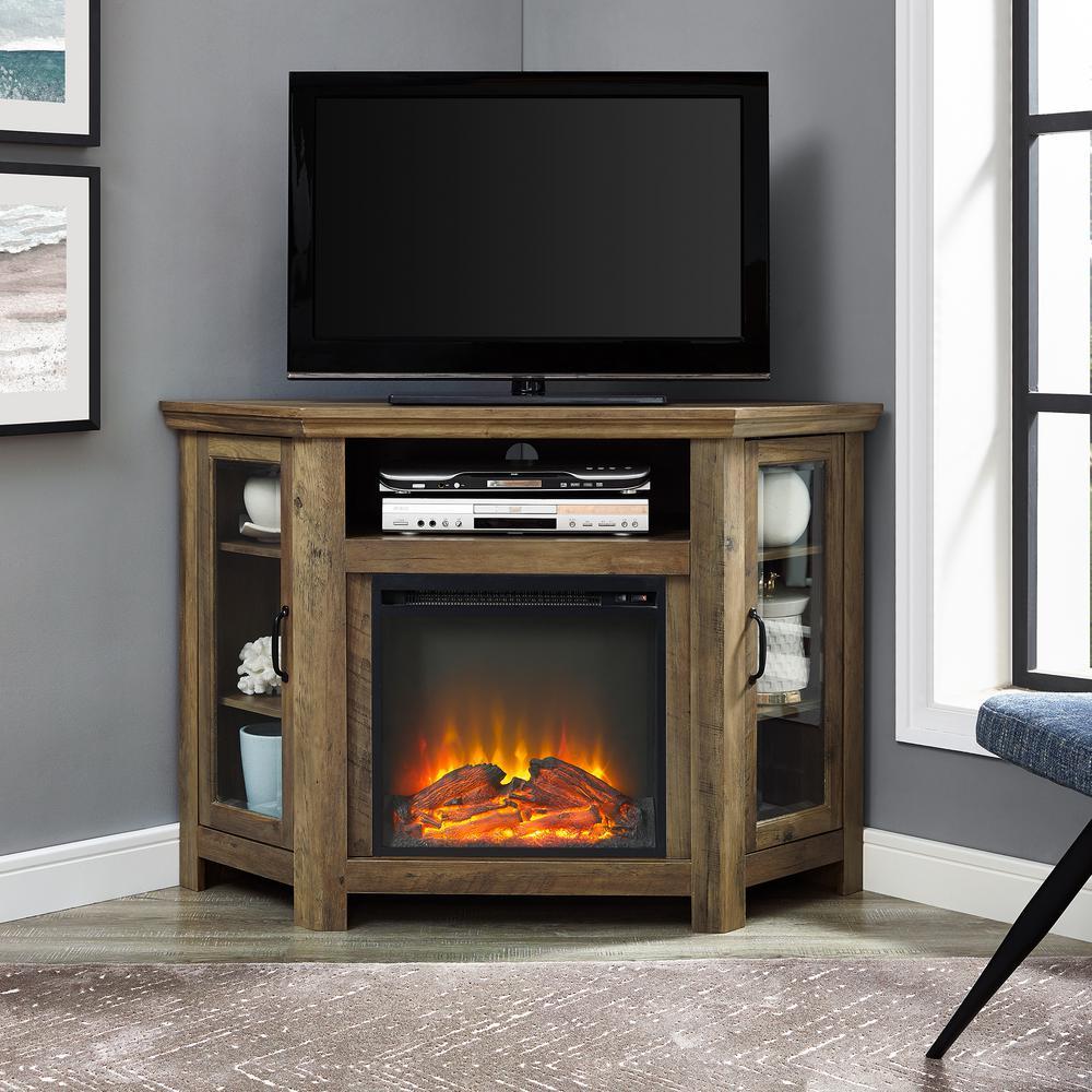 Walker Edison Furniture Company 52 in Rustic Oak Classic Traditional Wood Corner Fireplace