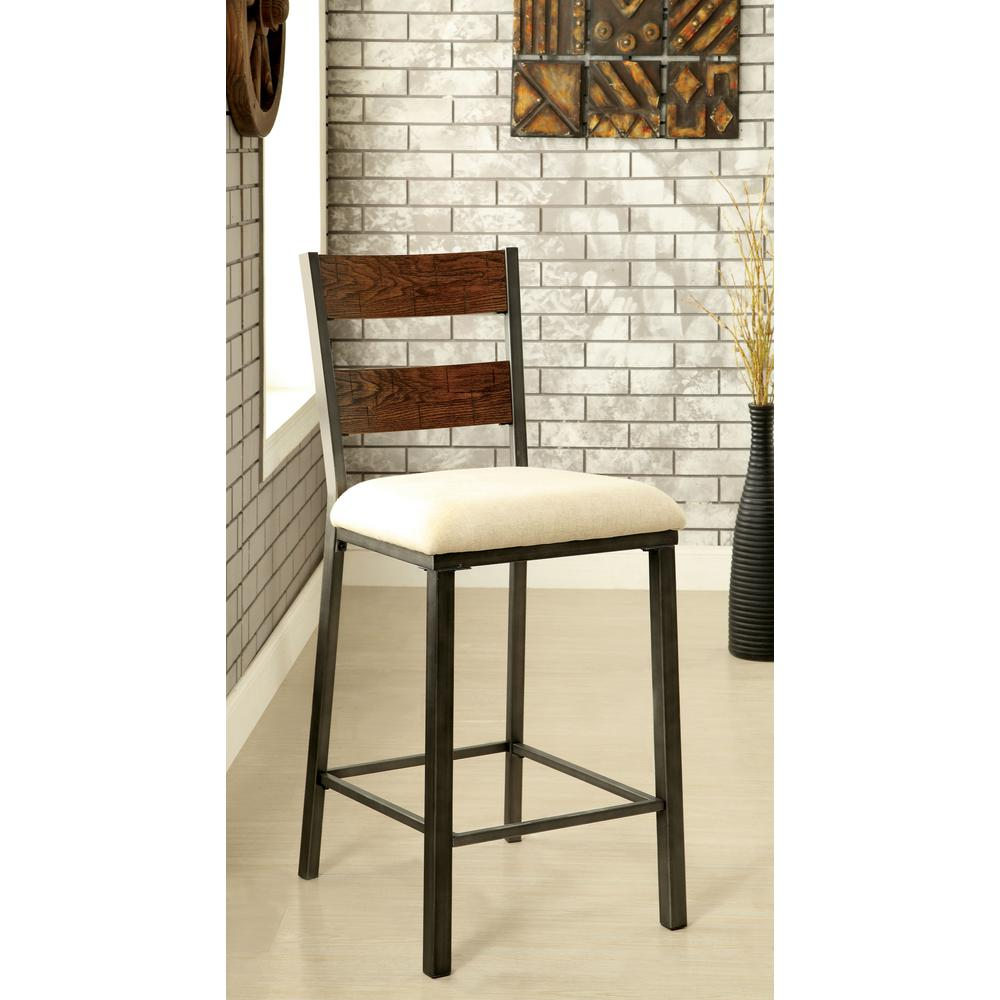 upholstered counter height chairs office chair max furniture of america faven 25 in weathered oak set 2 idf 3686pc the home depot