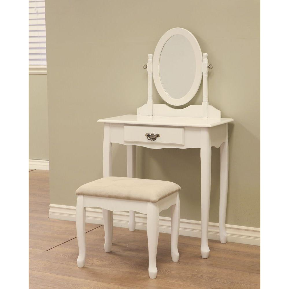 frenchi home furnishing 3-piece white vanity set-h-7-wh - the home