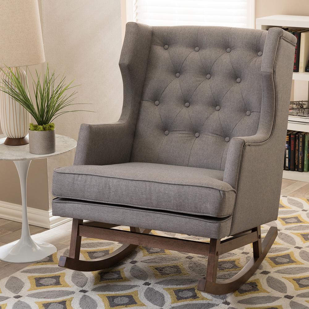 Baxton Studio Iona MidCentury Gray Fabric Upholstered