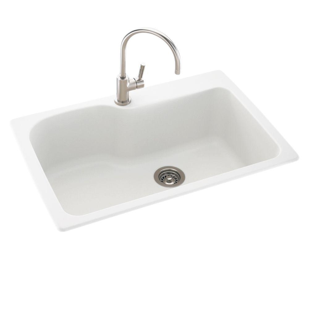 kitchen sink white refacing cabinets swan drop in undermount solid surface 33 1 hole single bowl