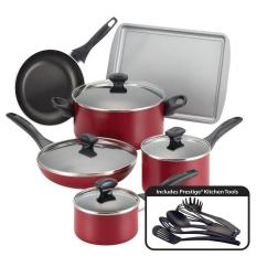 Kitchen Pan Set 3 In 1 Farberware 15 Piece Red Cookware With Lids 21807 The Home Depot