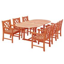 Vifah Eco-friendly 7-piece Wood Outdoor Dining Set Oval
