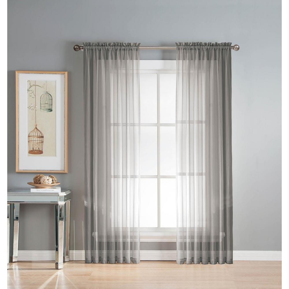 Window Elements Sheer Diamond Sheer Gray Rod Pocket Extra Wide Curtain Panel 56 in W x 63 in