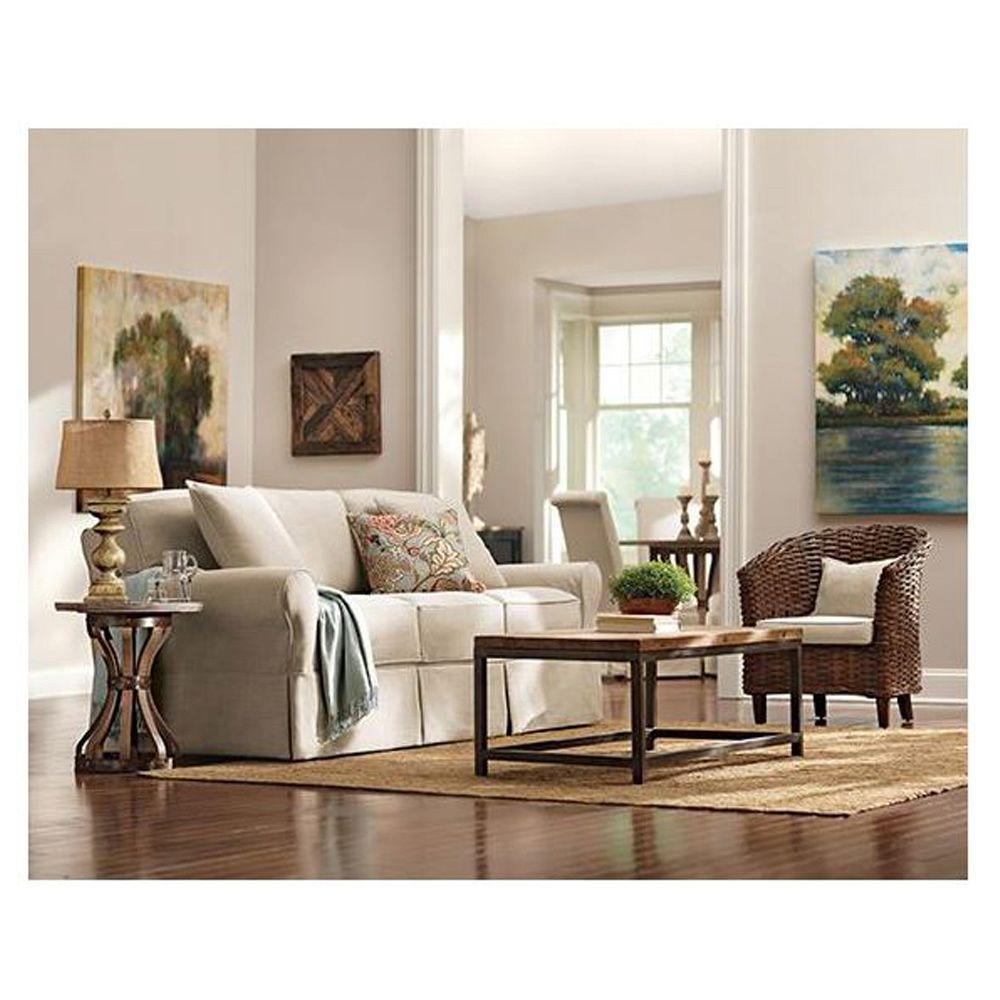 Home Decorators Collection Mayfair Pearl Linen Fabric Sofa1640010870  The Home Depot