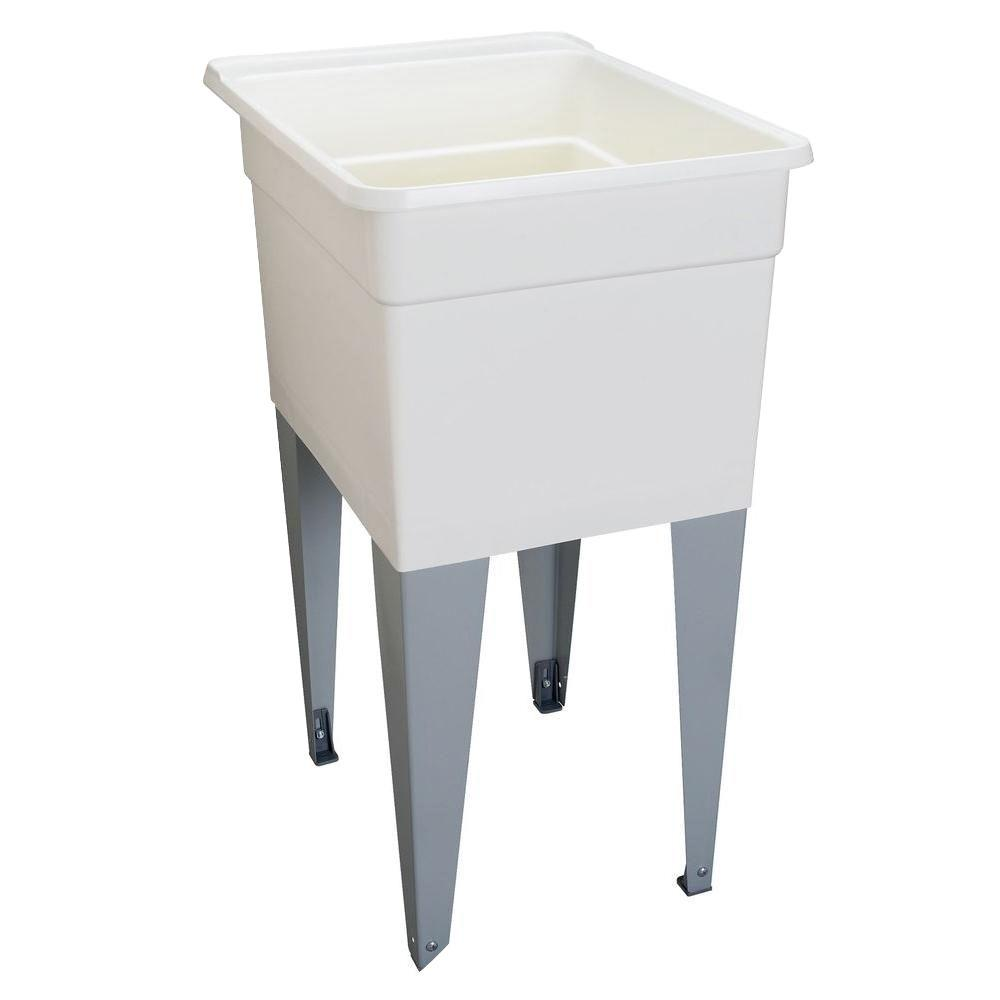MUSTEE 18 in x 24 in Plastic Utilatub Single Laundry Tub