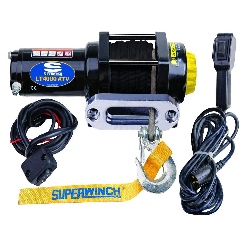 hight resolution of superwinch lt4000 12 volt atv sr winch with 50 foot dyneema synthetic rope