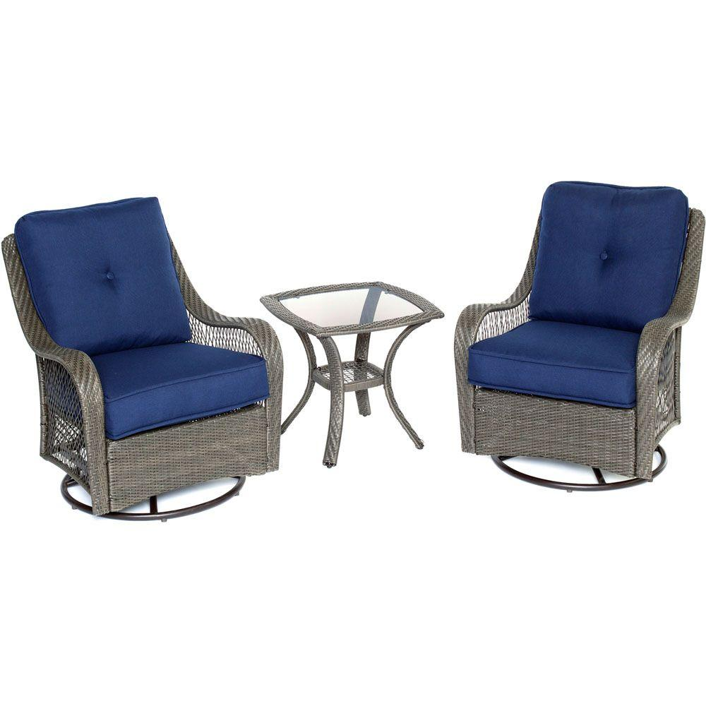 Swivel Rocking Chairs Hanover Orleans Grey 3 Piece All Weather Wicker Patio Swivel Rocking Chat Set With Navy Blue Cushions