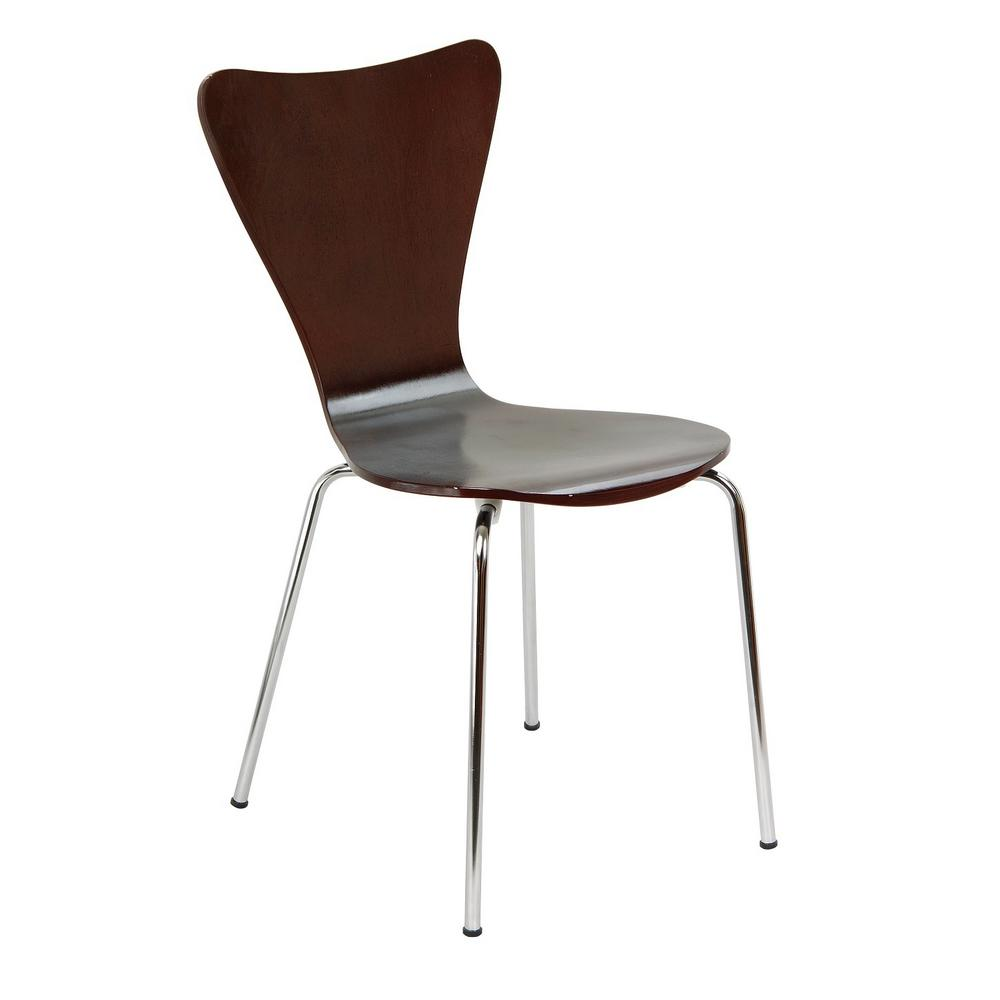 Legare Bent Plywood Expresso Stack Chair with Chrome