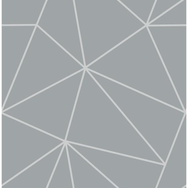 Fine Decor 8 in. x 10 in. Arken Silver Geometric Wallpaper