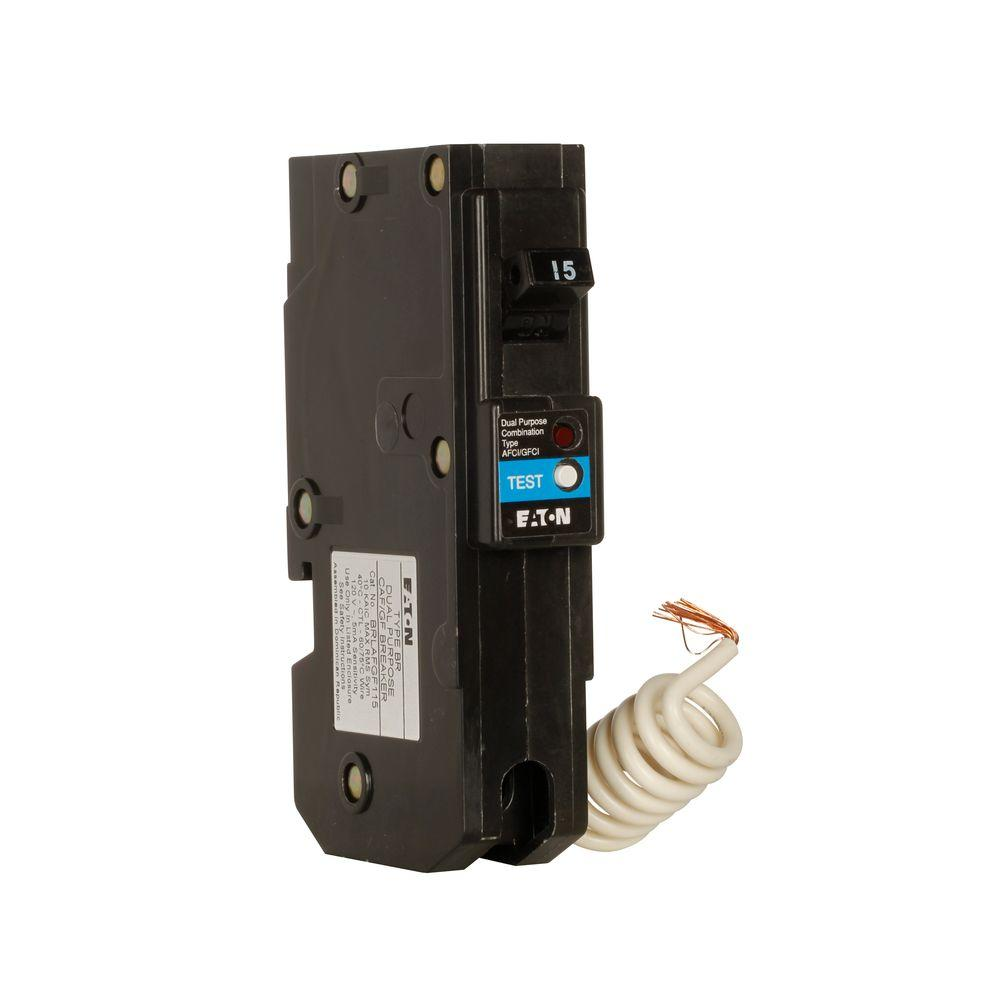 hight resolution of br 15 amp single pole dual function long body arc fault ground fault