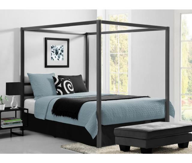 Rory Metal Canopy Grey Queen Size Bed Frame