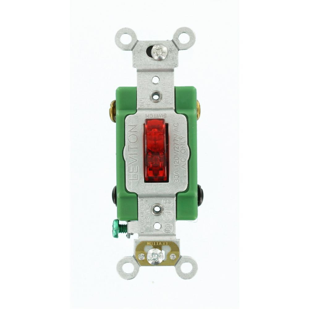 hight resolution of leviton 30 amp industrial grade heavy duty double pole pilot light toggle switch red