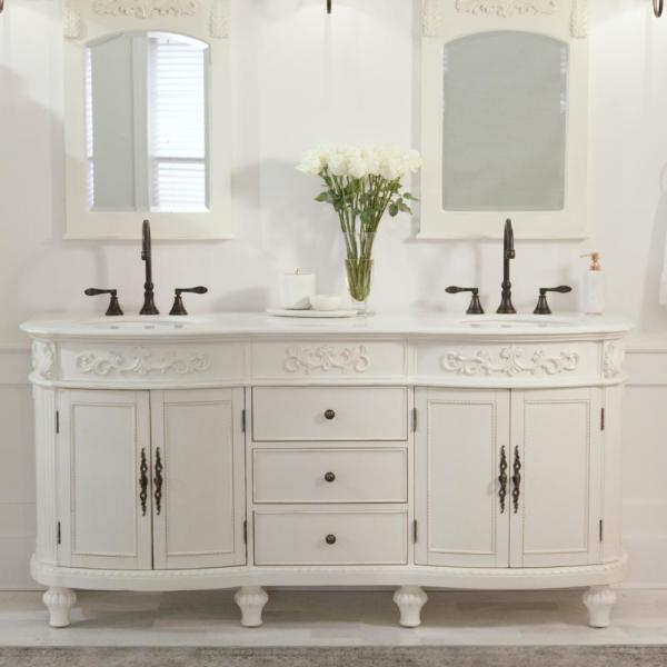 Home Decorators Collection Chelsea 72 In W Double Bath Vanity In Antique White With Marble Vanity Top In White 12102 Vs72j Aw The Home Depot