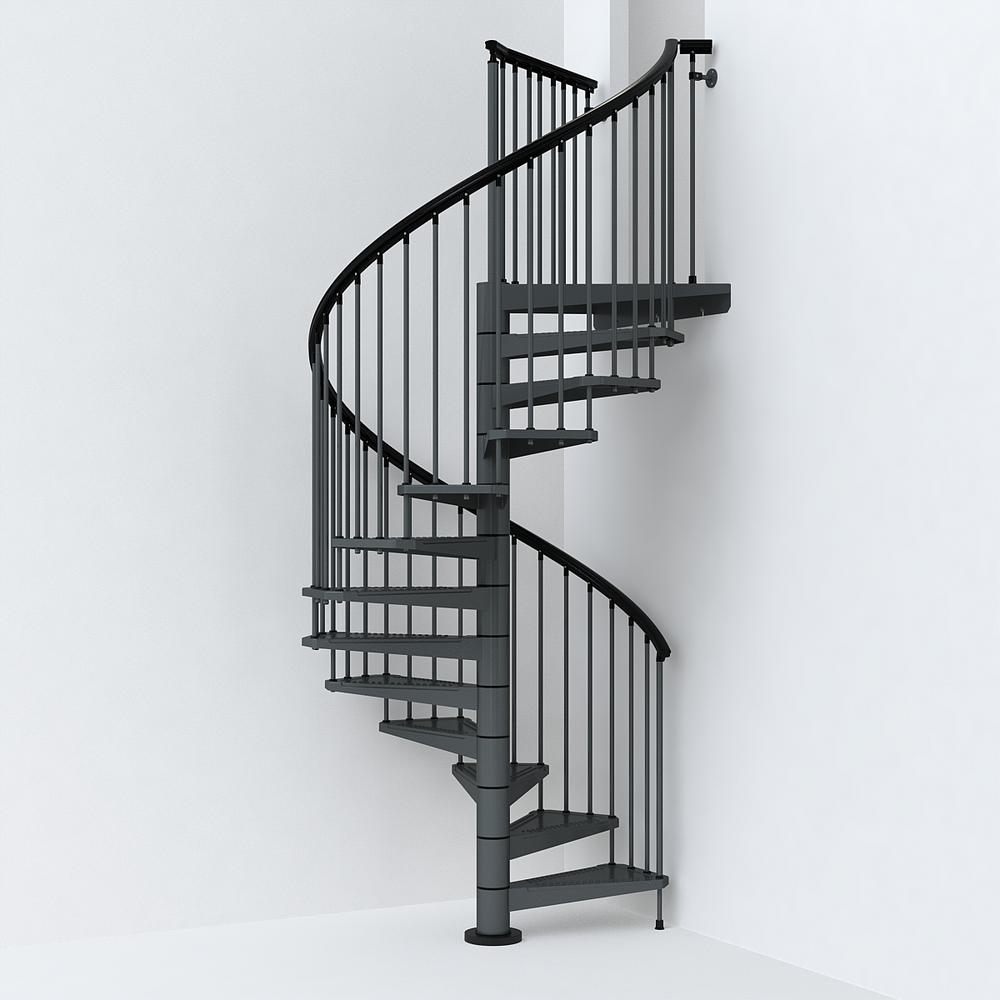 Sky030 63 In Iron Grey Spiral Staircase Kit K26290 The Home Depot   Painting Metal Spiral Staircase   Stair Case   Staircase Kit   Stair Railing   Powder Coating   Spray Paint