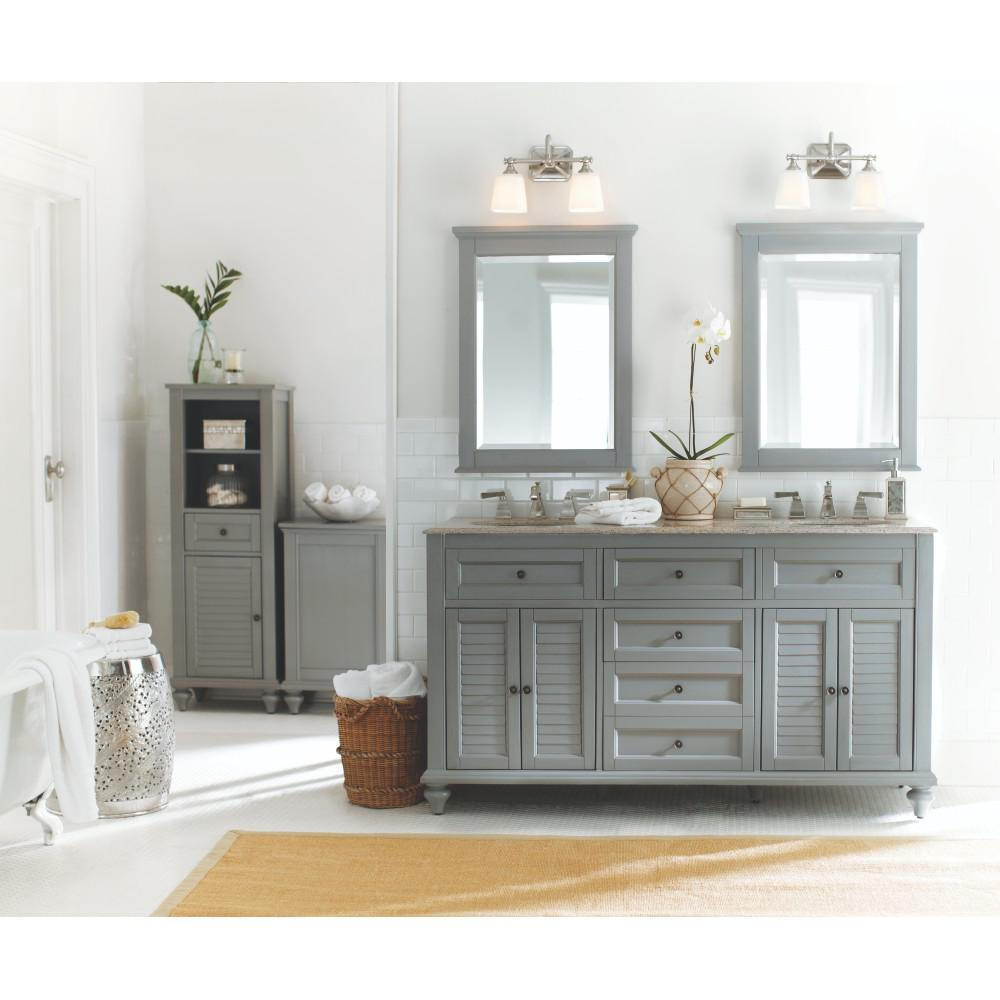 Home Decorators Collection Hamilton 32 in H x 24 in W Framed Wall Mirror in Grey1234900270