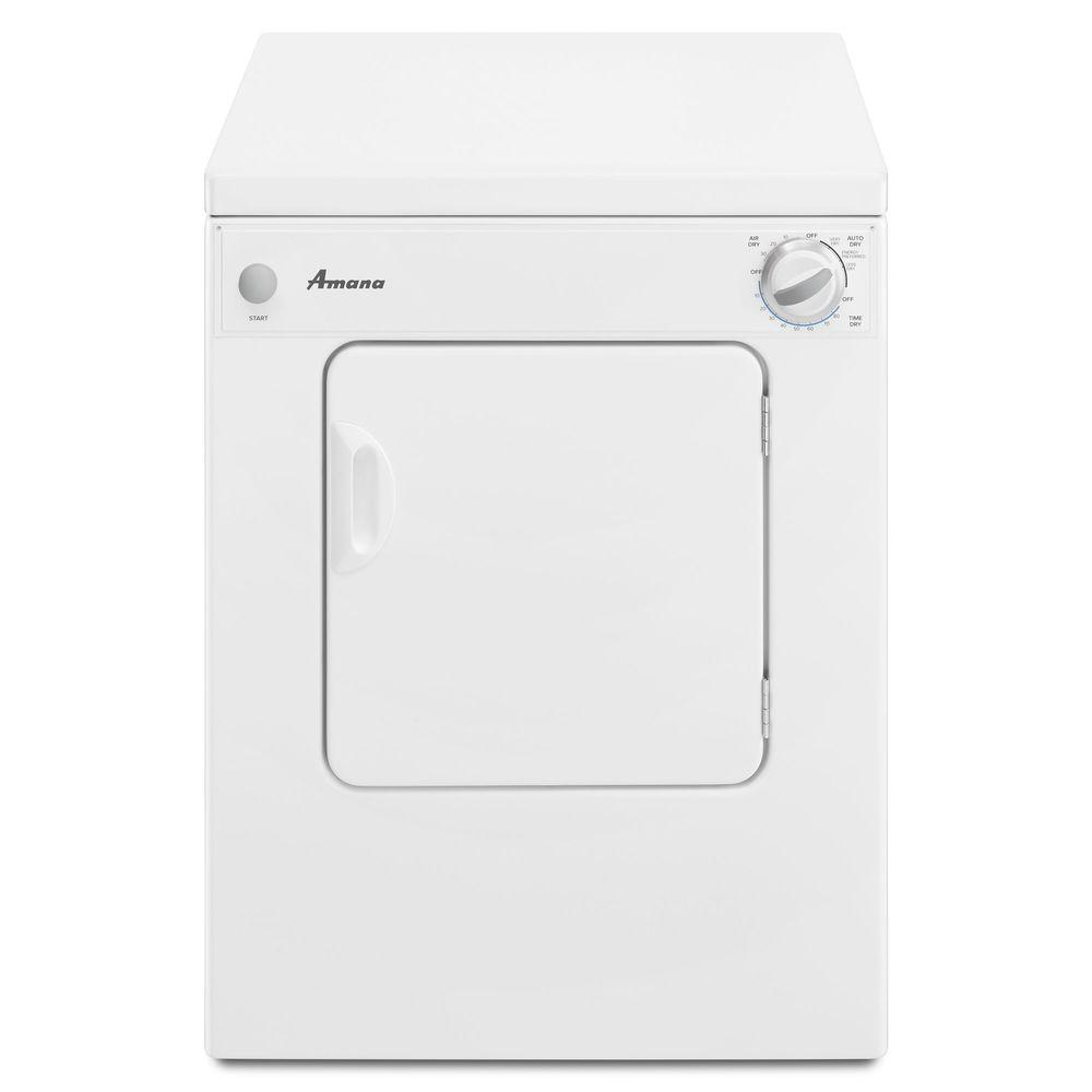 hight resolution of amana 3 4 cu ft 120 volt white electric compact vented dryer with sensor