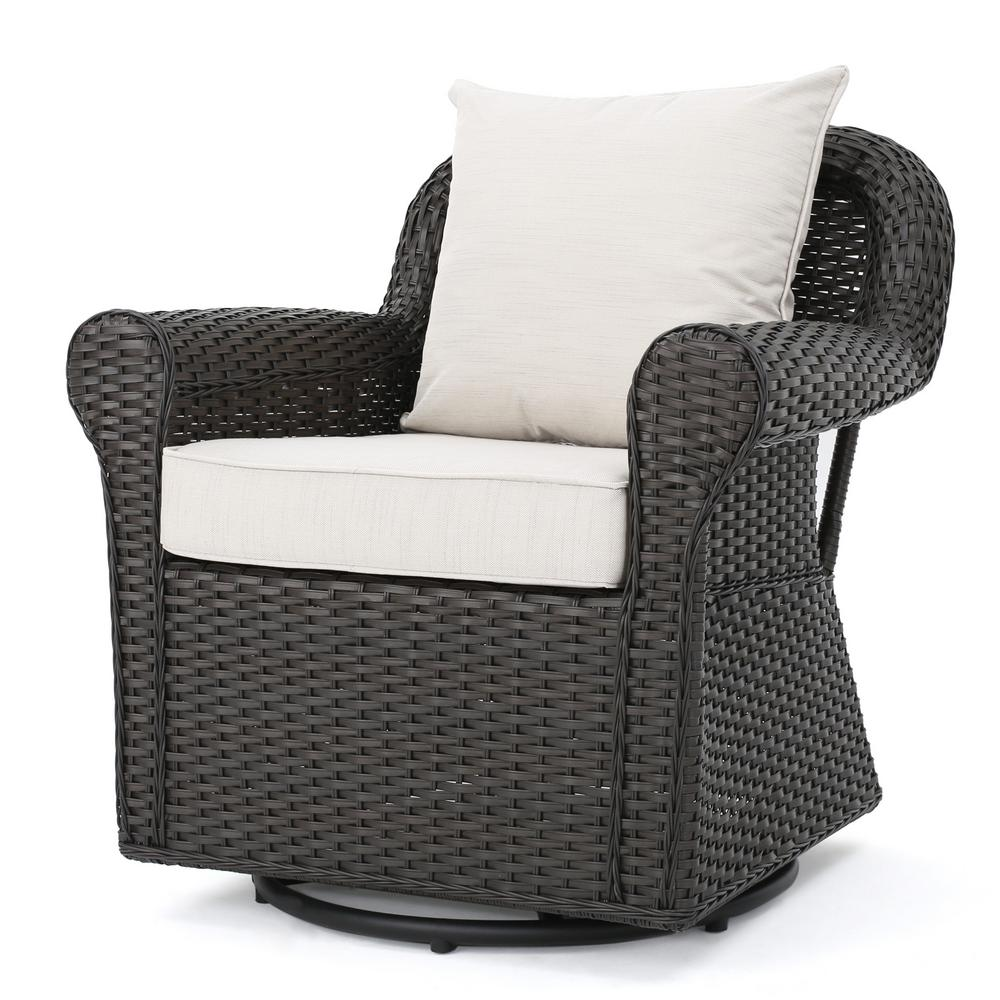 Noble House Amaya Dark Brown Wicker Outdoor Rocking Chair