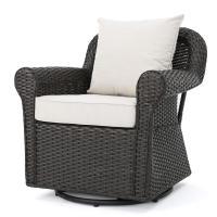 Noble House Amaya Dark Brown Wicker Outdoor Rocking Chair ...