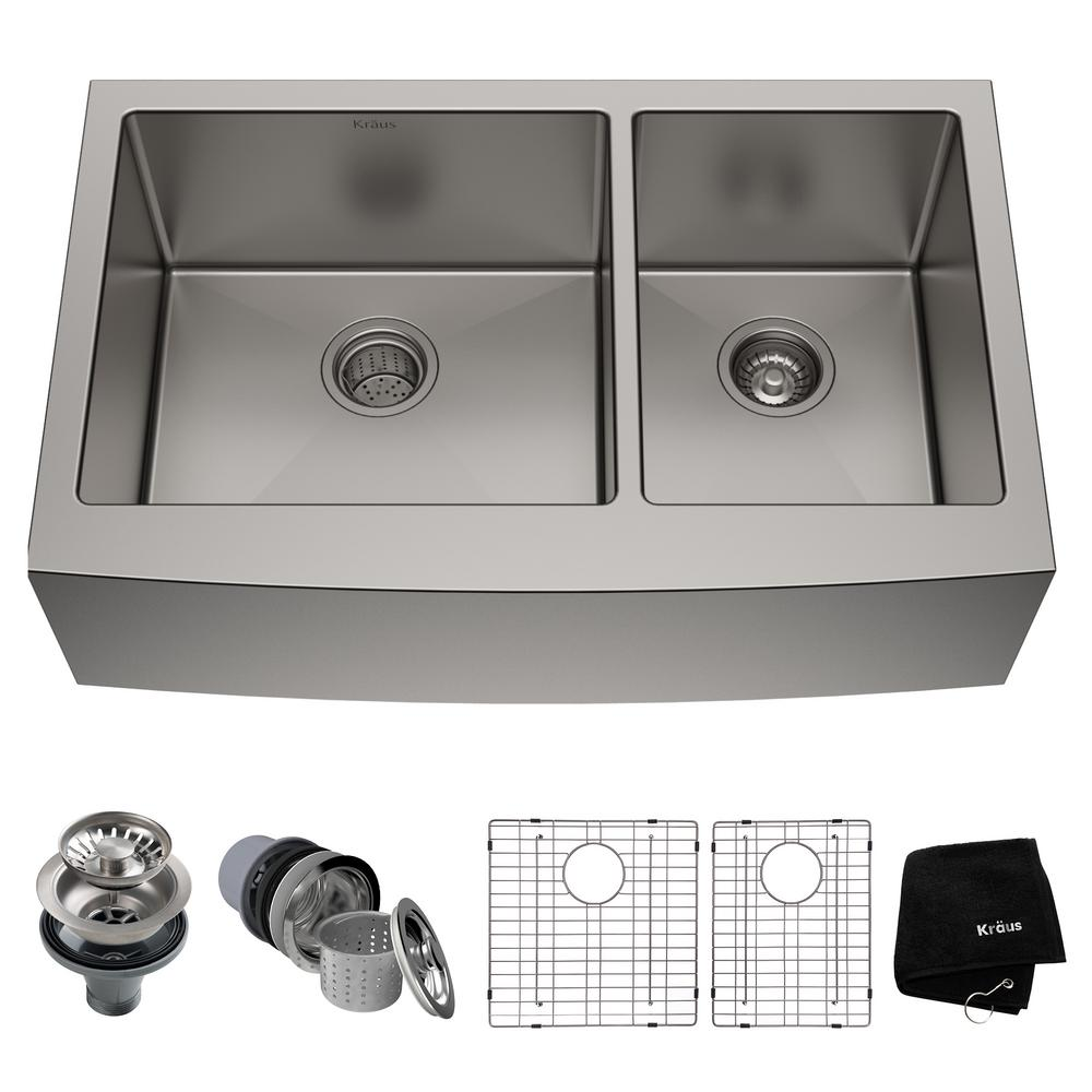 36 kitchen sink storage cabinet for kraus standart pro farmhouse apron front stainless steel in double bowl