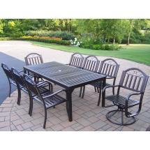 Rochester 9-piece Metal Outdoor Dining Set With
