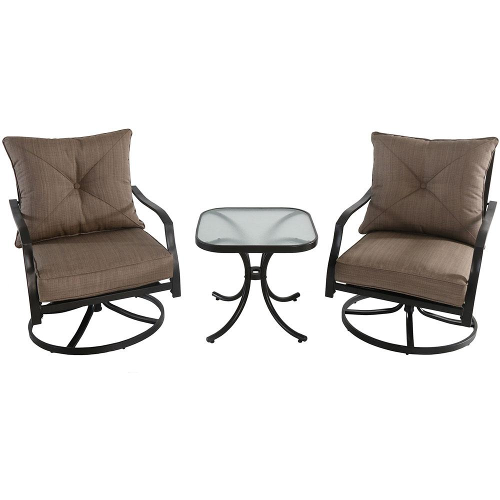 Swivel Rocking Chairs Hanover Palm Bay 3 Piece Steel Outdoor Bistro Set With Swivel Chairs And Copper Cushions
