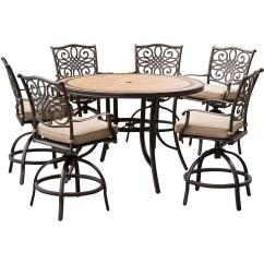 Table With Swivel Chairs Comfortable Folding Chair Hanover Monaco 7 Piece Aluminum Outdoor High Dining Set Round Tile Top