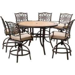 High Top Table Chair Set Mechanic Creeper Bar Height Patio Dining Sets Furniture The Home Depot Monaco 7 Piece Aluminum Outdoor With Round Tile And