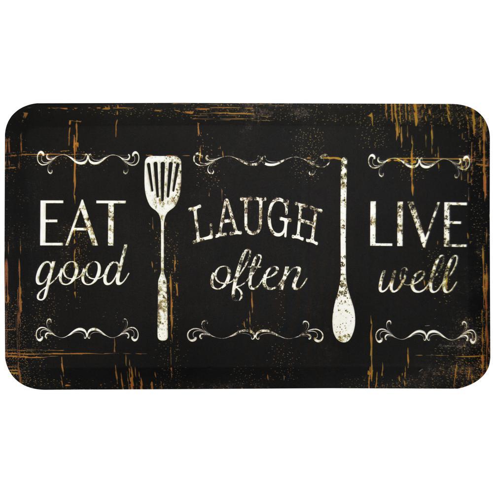 kitchen mats ikea metal shelves designer chef eat laugh live 18 in x 30 anti fatigue mat