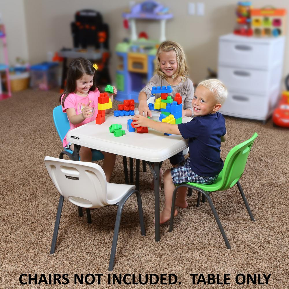 kids stackable chairs chair bed sleeper lifetime children s 24 in w square almond folding table 80425 the