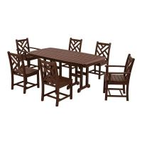 POLYWOOD Chippendale Mahogany 7-Piece Plastic Outdoor ...