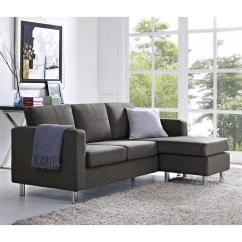 Small Sectional Living Room Furniture White Wall Units Dorel Spaces 2 Piece Configurable Gray Sofa