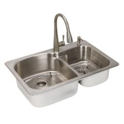 Stainless Steel Undermount Kitchen Sinks Hotels With In Miami The Home Depot All One Dual Mount 33 2 Hole Double