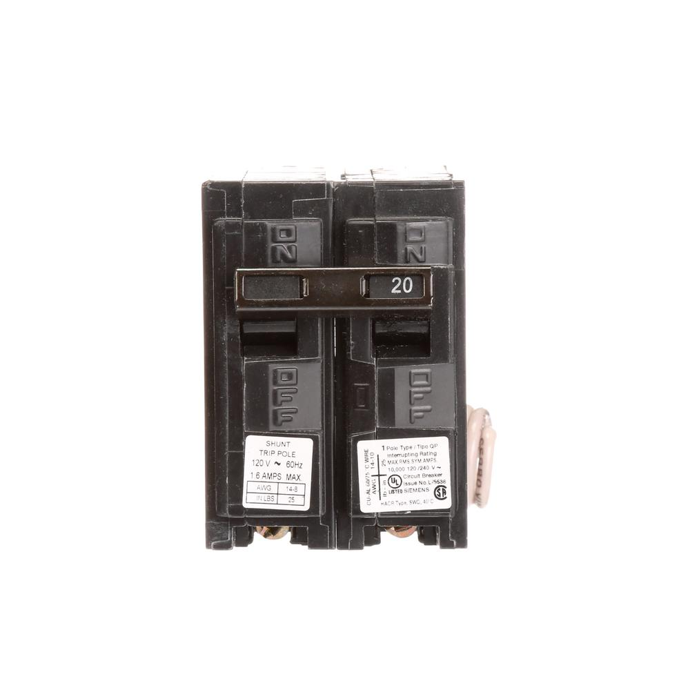 medium resolution of siemens 20 amp 1 pole 10 ka type qp with shunt trip circuit breaker