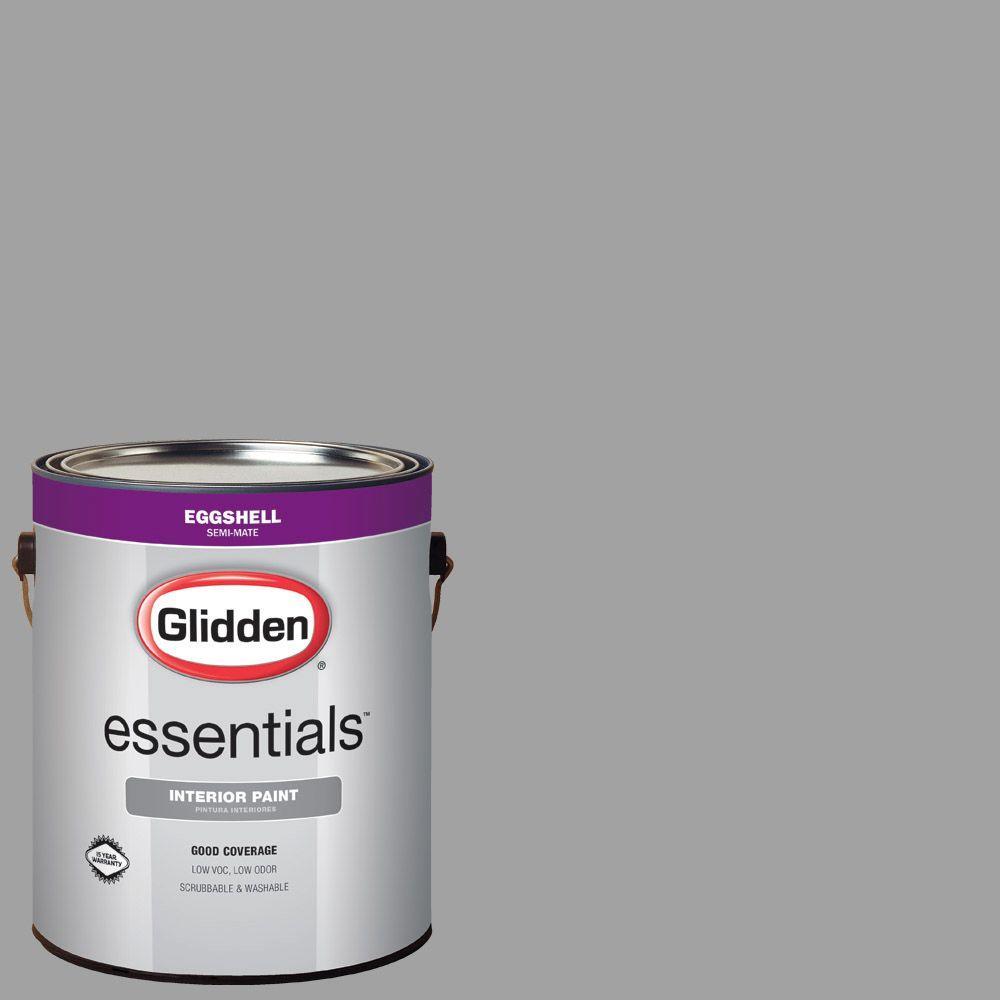 Glidden Essentials 1 Gal Hdgcn63 Granite Grey Eggshell Interior Paint Hdgcn63e 01en The Home Depot