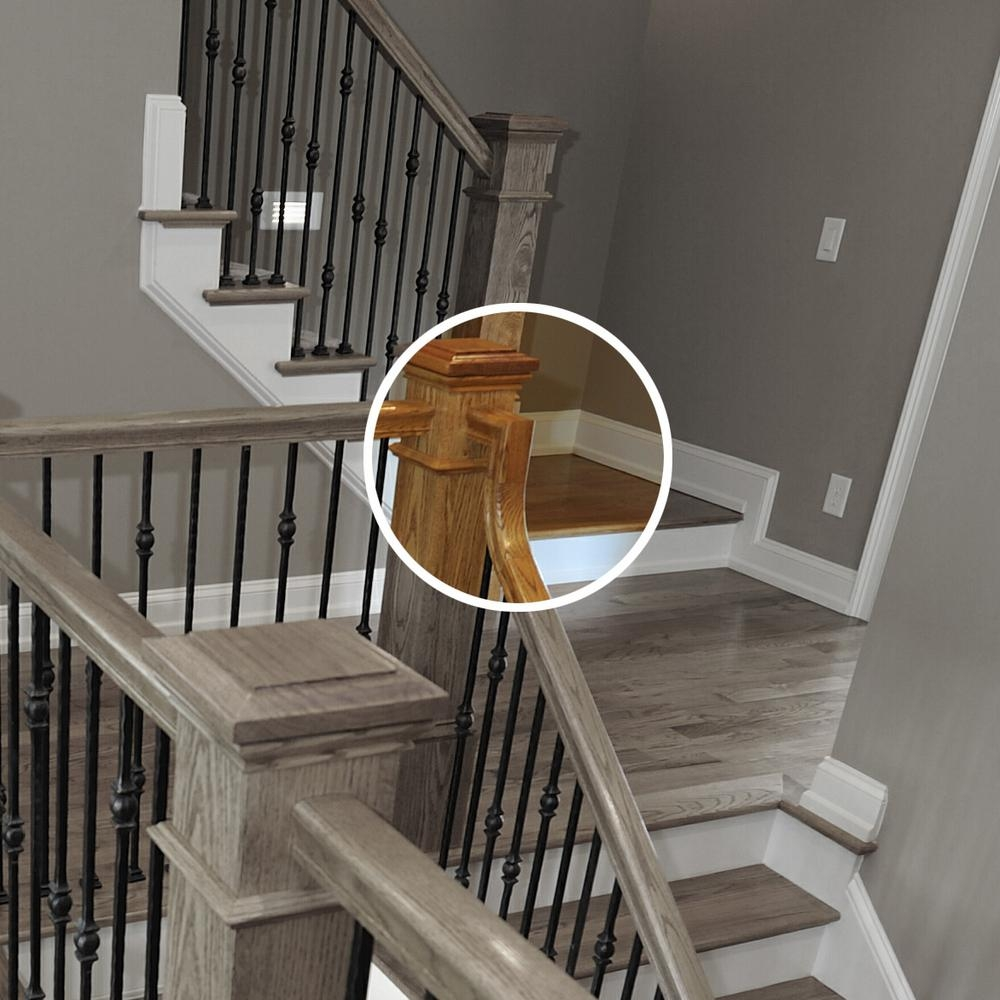 Stair Parts 7799 Unfinished Red Oak 2 Rise Gooseneck Straight With   Red Oak Handrail Home Depot   Staircase   6084   Stair Handrail Fitting   Bending   Oak Stair Treads