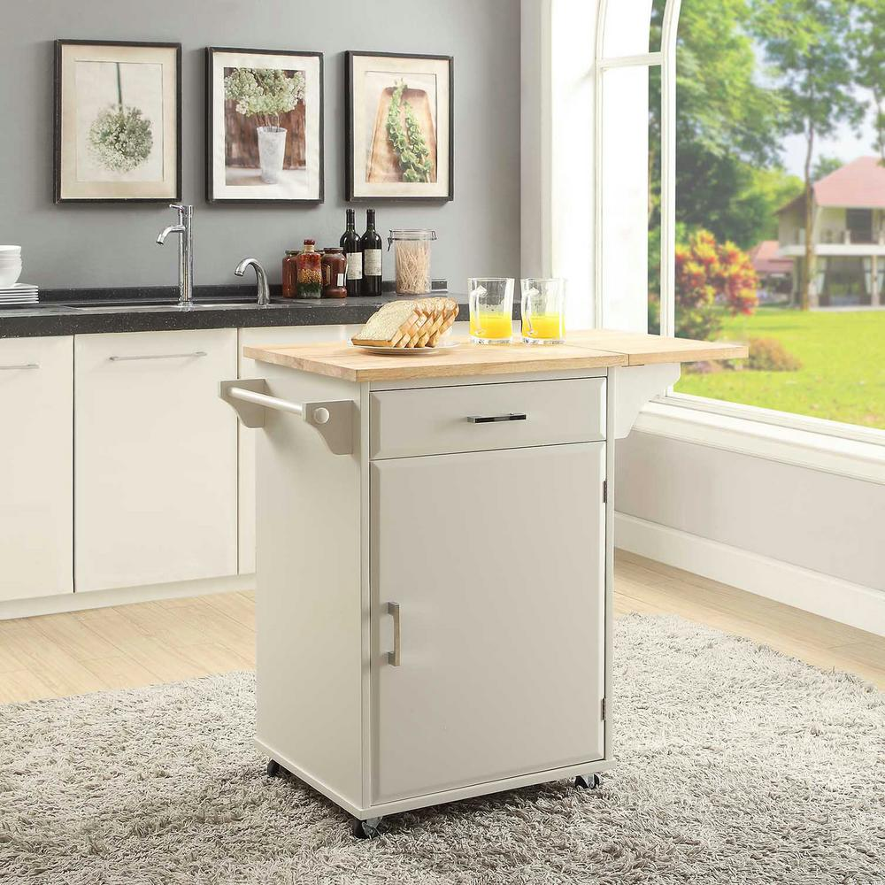 small kitchen carts tiles for floor usl townville polar white cart with drop leaf sk19251b