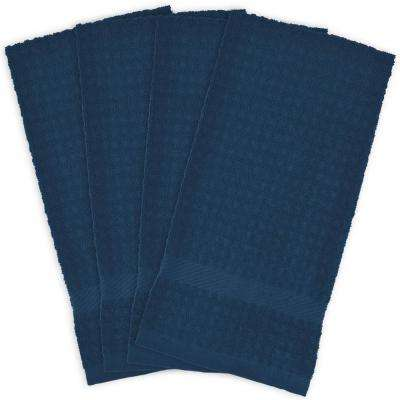 kitchen towels dexter blues table linens the home depot blue terry solid waffle dish set of 4