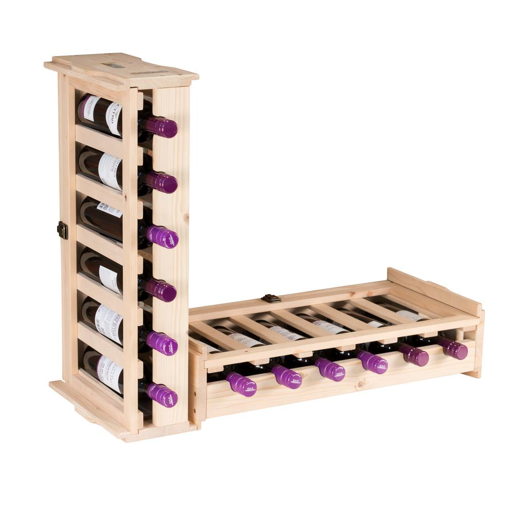 6 Bottle Wooden Wine Rack Northbeam 6-bottle Unfinished Wood Stackable Wine Rack (2