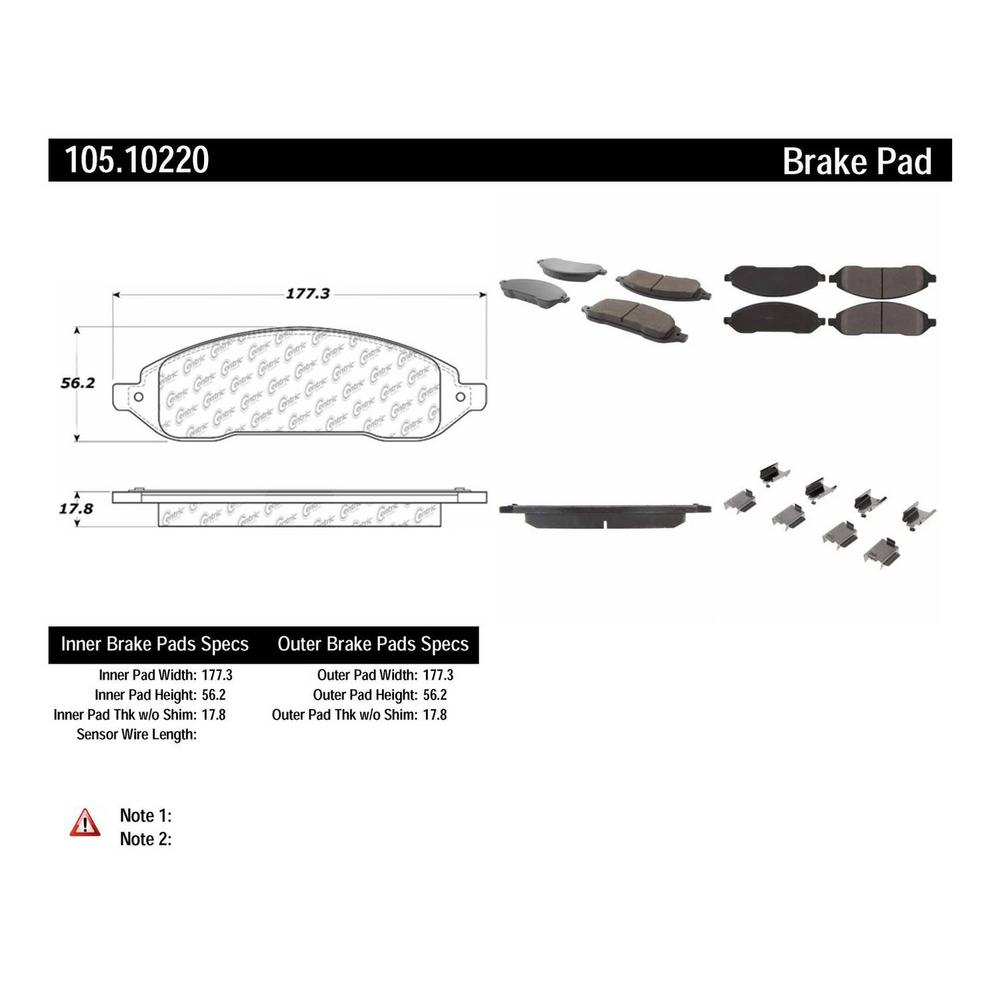 Centric Disc Brake Pad Set 2004-2007 Ford Freestar 3.9L 4