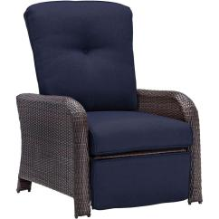 Wicker Reclining Patio Chair Harley Davidson Hanover Strathmere All Weather Lounge With Navy Blue Cushion