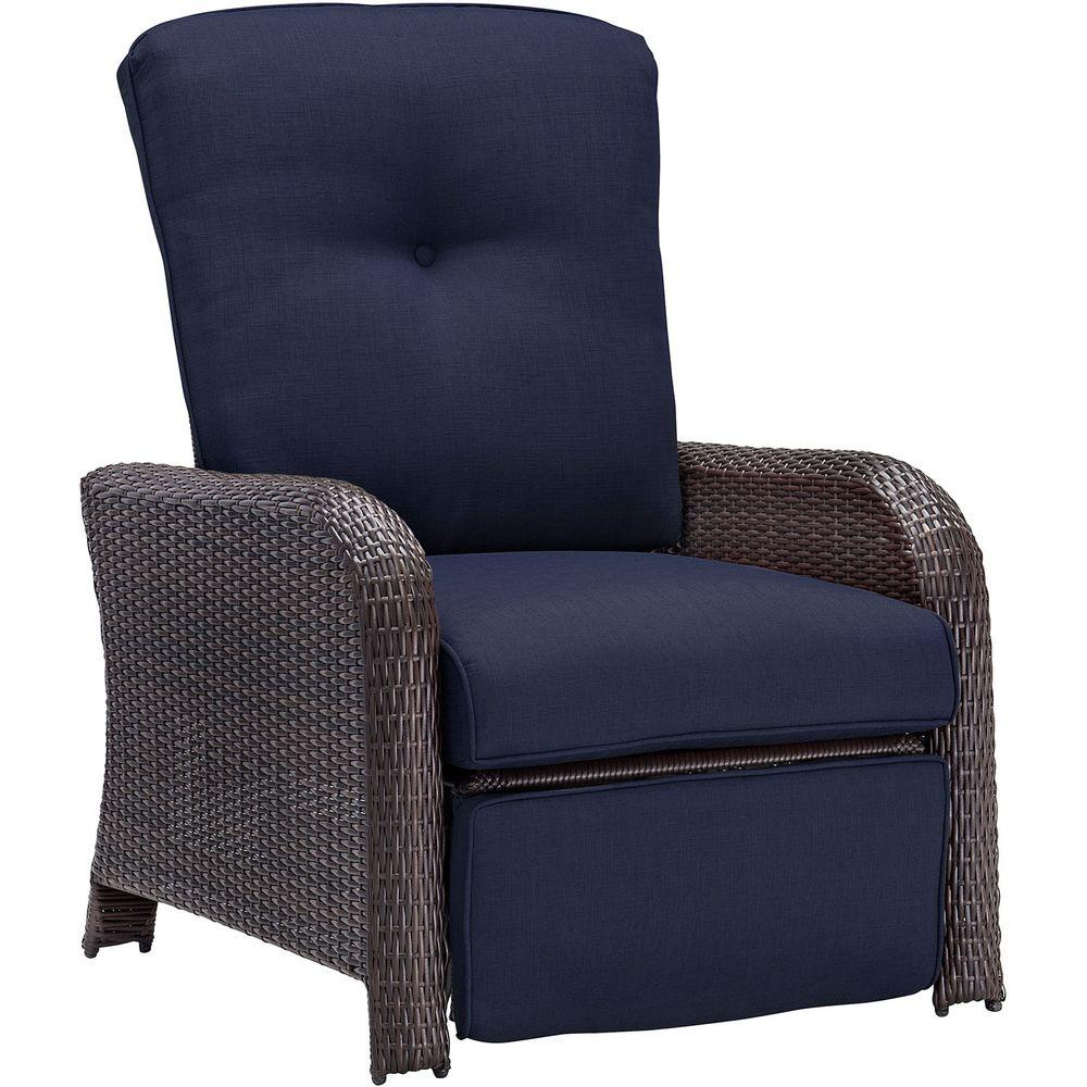 wicker recliner chair toddler chairs for boys hanover strathmere all weather reclining patio lounge with navy blue cushion