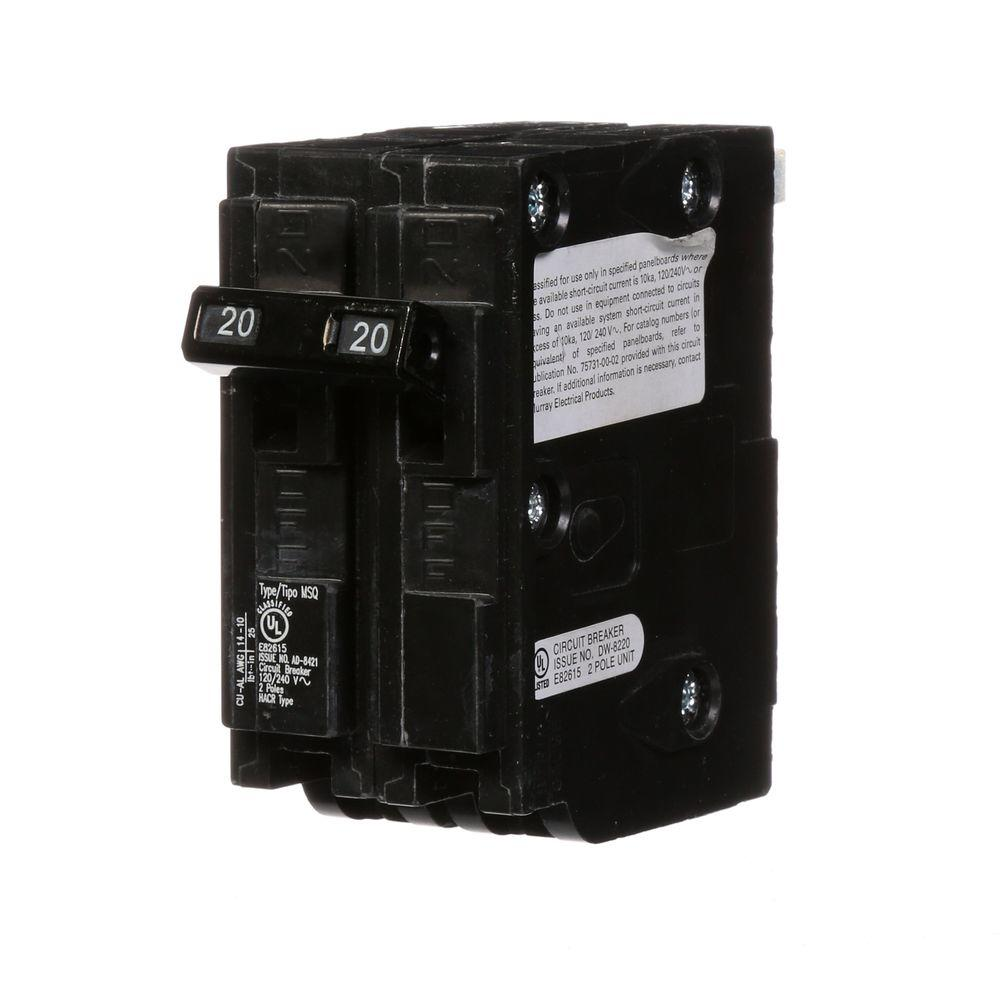 medium resolution of murray 20 amp double pole type msq qo replacement circuit breaker