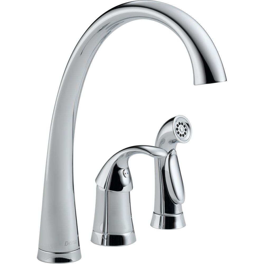 3 piece kitchen faucet stock cabinets delta pilar waterfall single handle standard with side sprayer in chrome