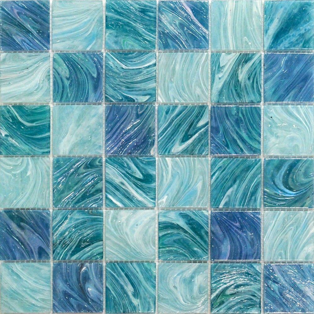 Splashback Tile Aqua Blue Sky Mesh Mounted Squares 11 34