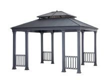 Sunjoy Catelynn 11.8 ft. x 13.7 ft. Black Steel Gazebo ...